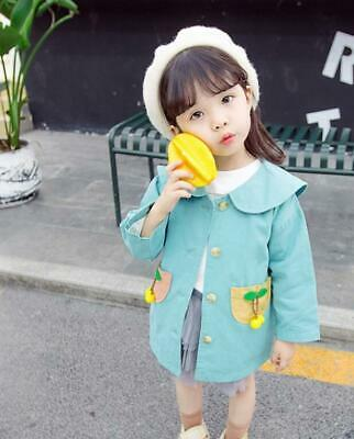 Girls Baby Cute Cherry Long Trench Coat 2019 Autumn New Children Jacket Tops New