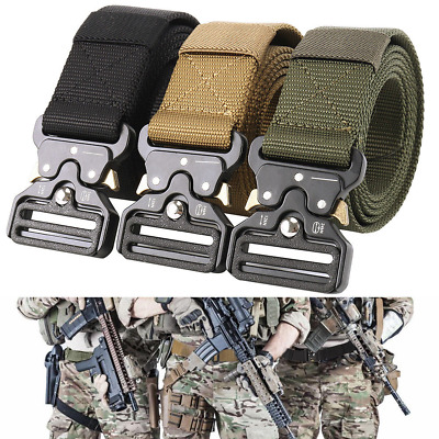 Quick Release Buckle Military Trouser Belt Army Molle Tactical Canvas Webbing UK
