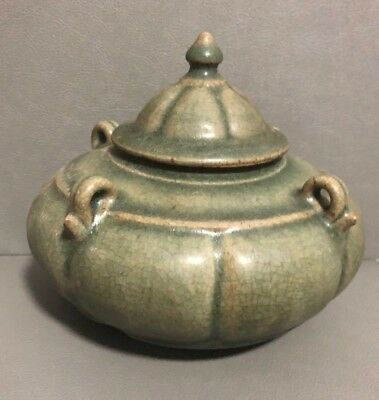 Antique  Thai Sukhothai Celadon   Stoneware  Covered Pumpkin Shaped Bowl
