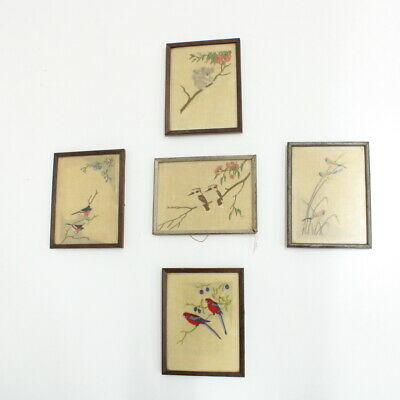 Set Of 5 Framed Australiana Embroidered Native Animal Birds Linen Pieces #405