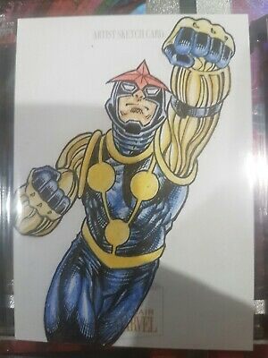 Upper Deck Marvel 2019 Flair Sketch Card Nova by John Paul Howard.