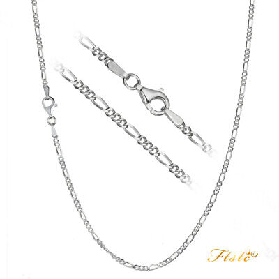 Solid 925 Sterling Silver 2mm Italian Figaro Link Chain Necklace ALL SIZES