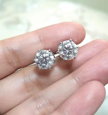 1 Ct Diamond Round Cut Solitaire 6 Prong Stud Earrings 14K White Gold Over