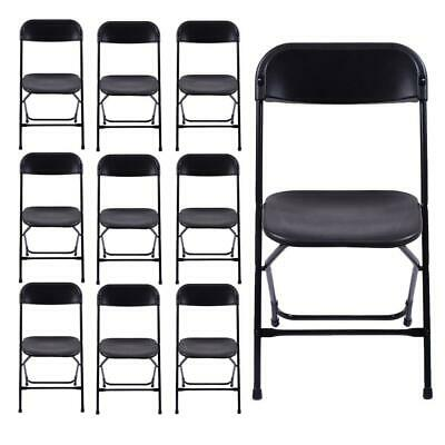 HoT 10PCS Commercial Plastic Folding Chairs Stackable Picnic Party Home Black