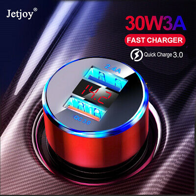 30W 3A Car Charger Quick Charge 3.0 Dual USB Port Adapter LED for iPhone Samsung