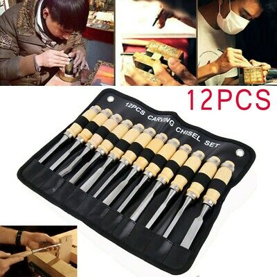12 Piece Wood Carving Hand Chisel Tools Set Woodworking Professional Gouges US