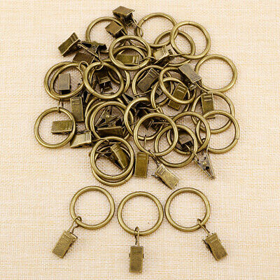 Bronze Metal Curtain Rings Clip Hanging Curtain Pole Rod Voile Net Wire 25mm x30
