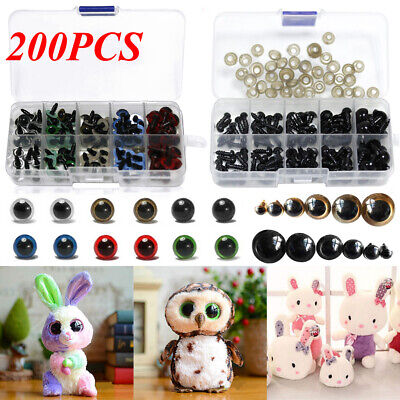 200PCS Plastic Safety Eyes Amber DIY Amigurumi Soft Toys Teddy Bear Craft Animal