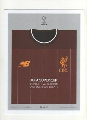 LIVERPOOL v CHELSEA, 14/08/19, DOUBLE SIDED  SUPER CUP OFFICIAL PROMOTION CARD.