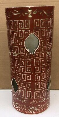 Antique Chinese Porcelain Hat Stand Vase 1900 Red Decorations With Old Labels