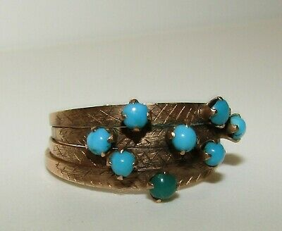 Rare, Antique Georgian 18Ct Gold Stacking Rings With Fine Persian Turquoise Gems