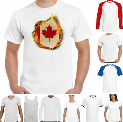 Canadian T-Shirt Mens National Flag Flames Canada The Maple Leaf Ice Hockey Top