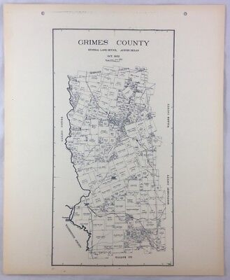 Antique General Land Office Map Grimes County Texas Showing Plats ++
