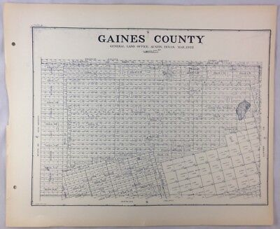 Antique General Land Office Map Gaines County Texas Showing Plats ++