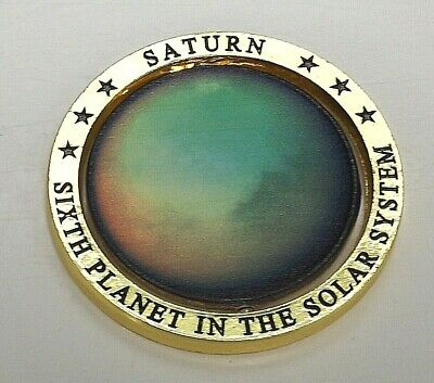 3D Silver Saturn Planet Moving Coin Gold Rings 1610 Space Man Moons U C Landing