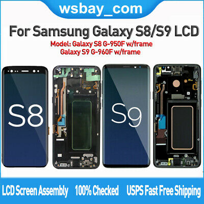 For Samsung Galaxy S8 S9 LCD Screen Replacement Touch Digitizer Assembly+Frame