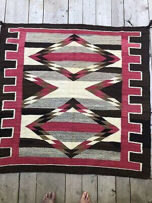 "Vintage Estate Navajo Native American Indian Rug  VERY NICE CONDITION  53"" X 56"""
