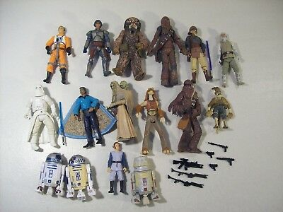 Lot Of 16 Star Wars Action Figures 2000-04 Lando Chewbacca Tusken Female Child