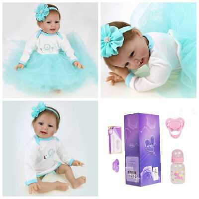 "22"" Soft Reborn Baby Dolls Realistic Vinyl Silicone Newborn Baby Girl Doll Gifts"