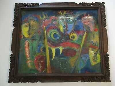 Bali Large 1960'S Painting Expressionism Mid Century Modernism Cubism Abstract