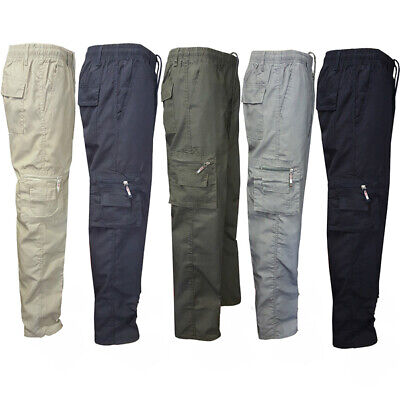 Mens Tactical Chinos Cargo Combat Pants Loose Casual Hiking Work Patrol Trousers