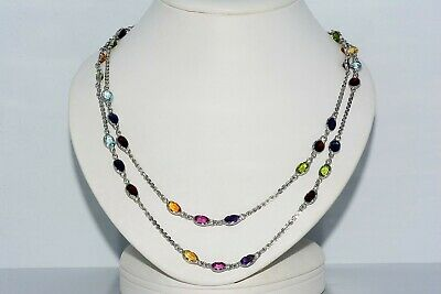 $1,500 57.00Ct Natural Multi-Color Mixed Gemstone Long Hanging Necklace Silver