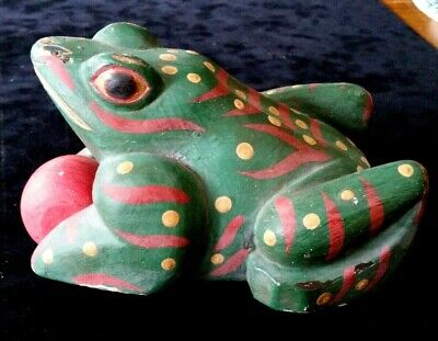 Antique Vintage Hand Carved Painted Wooden Frog Folk Art Pull Toy on rollers
