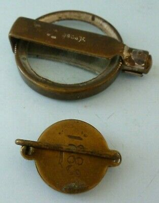 Antique Victorian Brass Folding Magnifying Glass Pocket Depose French Pair 1883