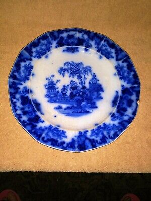 """Antique Scinde Ca1840 Flow Blue Plate J&G Alcock Oriental Stone  """"Pagoda Floral"""""""