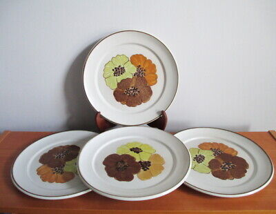 "Denby San Gabriel 4 Dinner Plates 9 3/4"" Brown Gold Yellow Flowers 1970s England"