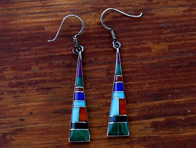 Large Vintage Sterling Silver Earrings Turquoise Malachite Coral Onyx Lapis