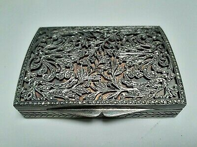Antique Snuff Box Hinged Sterling Silver & Hallmarks 121.7 Grams Very Old Nice