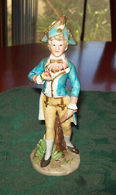Vintage Bisque China  Figurine of a Young Victorian Boy with Three Cornered Hat