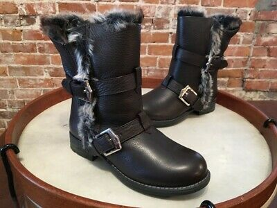 Aimee Kestenberg Sammy Brown Leather Faux Fur Moto Winter Ankle Boot NEW