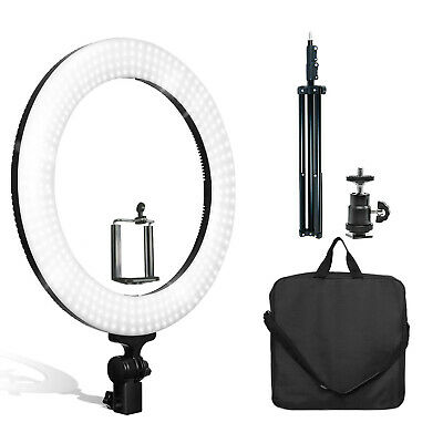 "18"" Dimmable Dual Colored LED Round Ring Light, Bluetooth Remote Phone holder"