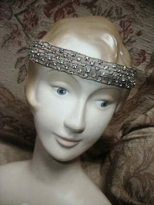 Antique 1912 Downton Abbey Era French Rhinestone & Silk Bandeau Evening Headband