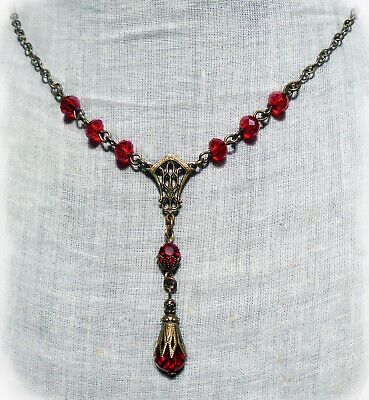 Filigree Glass Red Crystal Y Necklace Edwardian Gothic Vampire Art Deco Ruby