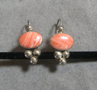 Vintage Sterling Silver Mexican Glass Earrings Signed