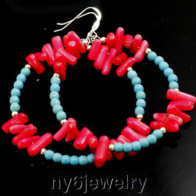 Blue Turquoise red Coral Large Silver earring  Birthday Gift