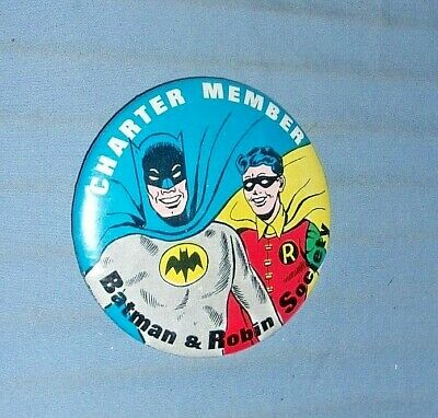 Vintage Batman and Robin Society Charter Member Pinback Button 1960's