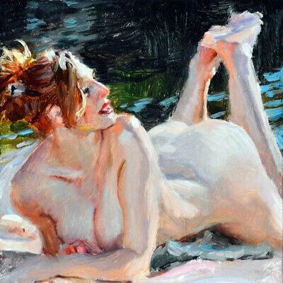 "Giclee Print Passionate nude Woman Oil painting Printed on canvas 16x16"" P1244"
