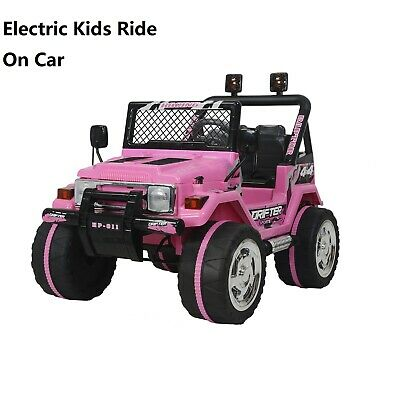 12V Pink 3 Speeds Electric Ride On Cars With Remote Control Jeep For Kids