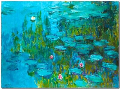 "CLAUDE MONET ~ Water lilies sea roses cyan~ CANVAS ART PRINT Poster ~ 16""X 12"""