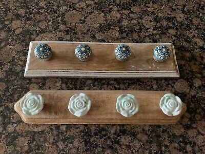 Wooden Shabby Chic Rustic Coat Hook ceramic knobs made in India x two