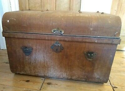 LARGE VINTAGE METAL STEAMER TRUNK - Tin Chest Blanket Box Storage Toy Table