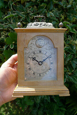 Antique/Vintage 8-day Small Basket top Blonde wood BRACKET CARRIAGE CLOCK
