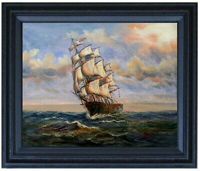 Framed Sailboat on Sea 10, Quality Hand Painted Oil Painting 16x20in