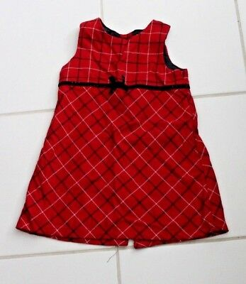 """Red White Black Plaid Girls Jumper Dress Old Navy 2T Chest 24"""" Length 20"""" Button"""
