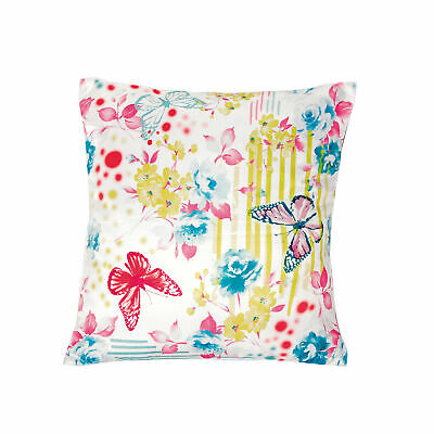 Cushion cover in satin with stamped digital butterflies - 001399