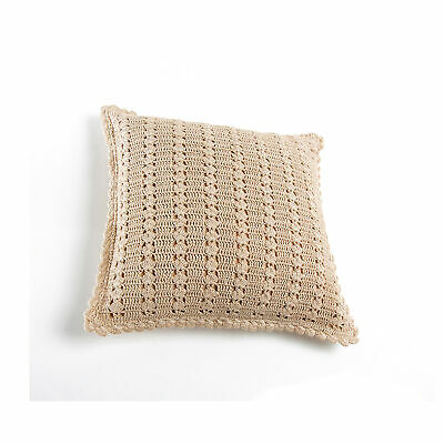 Square crochet cushion cover closed with zipper - 001266